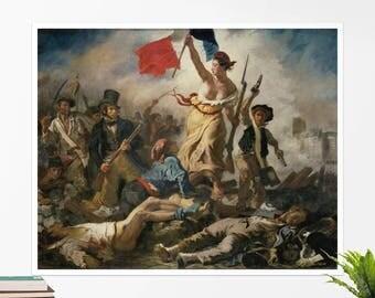 "Eugène Delacroix, ""Liberty Leading the People"". Art poster, art print, rolled canvas, art canvas, wall art, wall decor"
