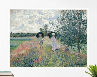 """Claude Monet, """"Taking a Walk near Argenteuil"""". Art poster, art print, rolled canvas, art canvas, wall art, wall decor"""