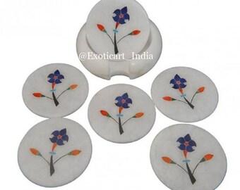 Round Shape White Marble Inlay Coaster Set With Semi Precious Stone Inlay Art Work Vintage Art Exclusive