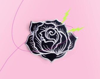 Big Black Rose. Iron On - Appliques.