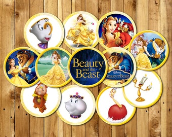 Beauty and the Beast Cupcake Toppers, Princess Belle Cupcake Topper, Belle Cupcake Picks, DIY Printable, |BE_CIRCLE