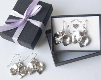 Sterling Silver Orchid Earrings/Night Orchid/Handmade Silver Earrings/Gift for Her/Sterling Silver Flower Earrings/Artisan Jewellery