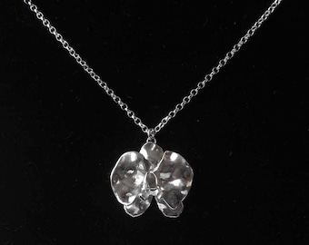 Medium Sterling Silver Orchid Pendant /Handmade Silver Necklace/Gift for Her/Silver Flower Pendant/Romantic Gift/Silversmith Jewellery