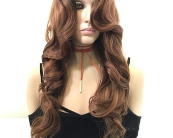 Ombre Honey Blonde Human Hair Blend Full Wig - Tarla