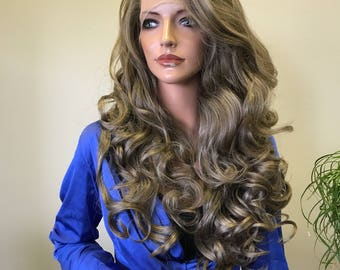 Balayage Dirty Blonde Mix Loose Curl Hair Blend 3x3  Multi Part SWISS Soft Multi Parting Lace Front Wig - Catrina cb 005-7
