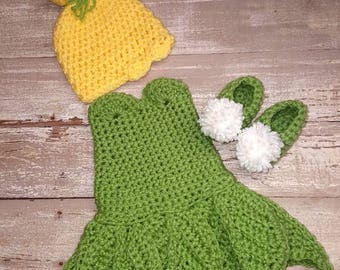 Tinker Bell inspired crochet costume, newborn outfit, photo prop