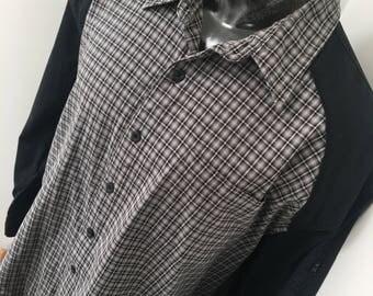 Mens vintage 2XL XXL Bugle Boy retro 90's hip hop style clothing multi color plaid shirt