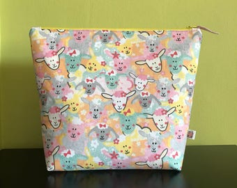 """Handmade large zipper pouch for knitting and crochet project 11.5"""" x 7.5"""" x 9"""" x 3.5""""  *Knitting Sheep*"""