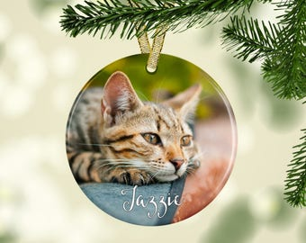 Custom Pet Photo Ornament, Pet Christmas Ornament, Personalized Ornament