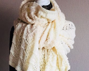 Hand Knitted Stole Cream