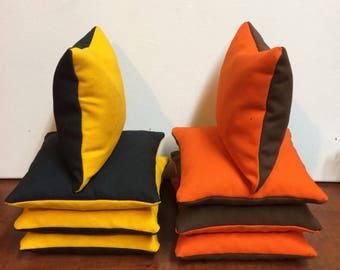 Black yellow brown orange cornhole bags Browns vs Steelers cornhole bags set brown/orange and black/yellow