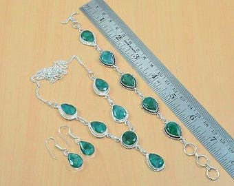 SALE, Free Shipping Natural Emerald and Silver Jewelry Set