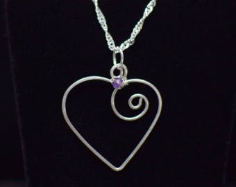 Sterling Silver Heart with Amethyst Accent