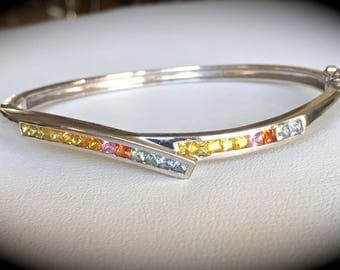 """Genuine Rainbow Sapphire (Heat Treated only) 925 Silver Bangle  """"CERTIFIED"""" Beautiful Item!"""