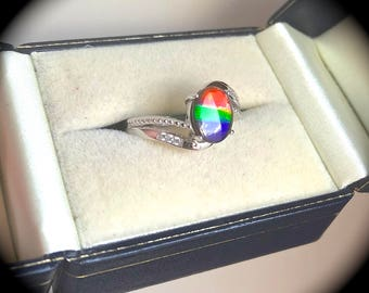Large! 9 x 7mm Oval Ammolite Ring 925 Sterling Silver Size L 1/2 (US 6) - 'Certified' - Exquisite Colours!