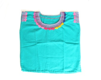 blue baby clothes / mexican girl blouse embroidery