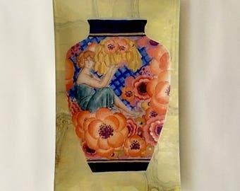 "French Vase Decoupaged 13"" Glass Tray"