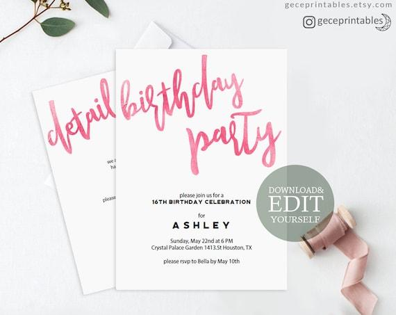Pink birthday invitation editable pdf invitation template il570xn filmwisefo