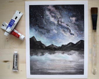 Galaxy Mountains Watercolor, Galaxy Painting, Galaxy Watercolor, Galaxy Mountains, Mountain Art, Mountain Watercolor, Starry Sky, Nature