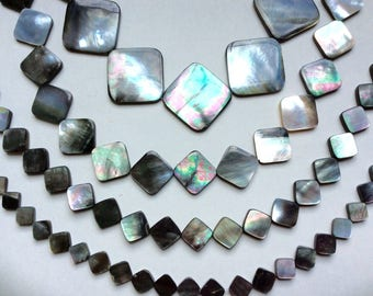 """Mother-of-Pearl,Black Lip Shell Beads, 8mm, 10mm, 15mm OR 24mm Diamond Beads, 15"""" strand, 1mm hole, Sold per strand Or per Lot."""