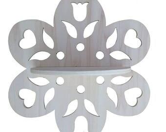 Shabby openwork flower shape shelf, do it yourself, decoupage (wood)