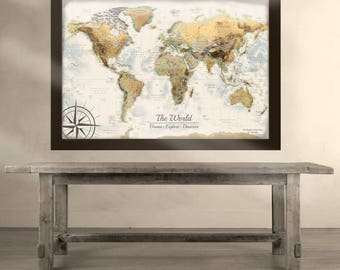 Large World Map Push Pin Travel Map - Vintage Design - Created by a Professional Geographer/Cartographer
