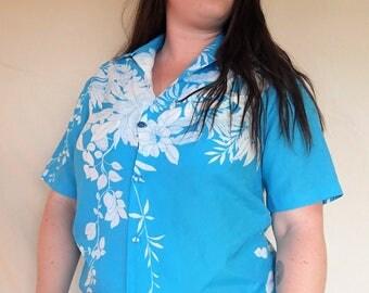 Hilo Hattie teal hawaiian