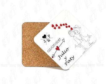 Coasters Wedding Drink Cup Square Custom Personalized  SET x4