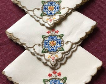 Set of 3 Vintage Linen Hankies with Cutwork and Embroidery