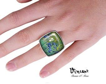 Bague carrée Vincent Van Gogh Les iris cabochon métal argenté verre
