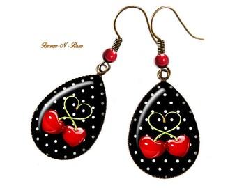 Boucles d'oreilles gouttes le temps des cerises rouges noir bronze pois bronze-n-roses