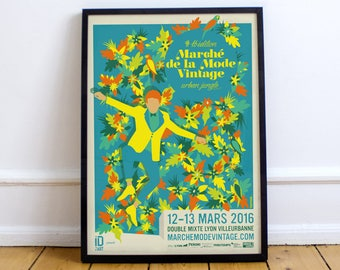 Poster illustration fashion Vintage market 2016 Urban Jungle blue
