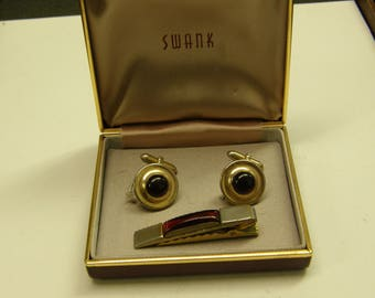 Vintage Swank Cuff Links And Tie Clip Set