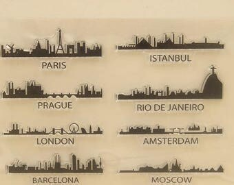 City Building Skyline Clear Rubber Stamp Set for scrapbooking, card making, collage, paper crafts, Rio, Paris, Prague, Barcelona, Istanbul