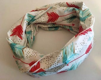 Infinity scarf - Turquoise and peach arrows - pink and blue - summer