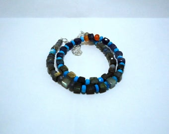Amazing Natural Multi Gemstone Beads Other Shape Necklace Turquoise , Labradorite, Iolite, 110 Cts. 16 Inches 1 Strand MGJ104