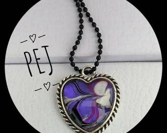 Handpainted,purple/white/black,cabochon,heart,necklace,watermarble