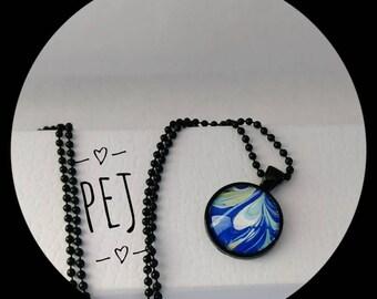 Blue/white,paintpour,cabochon,pendant,necklace