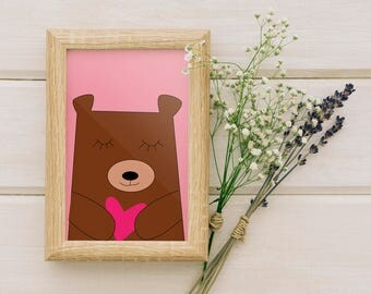 Wall Art Prints, Printable Art ,Nursery Art Print, Home Art, Kids Wall Art, Kids Nursery, Valentines, Valentines gift - Cute bear pink heart