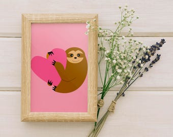 Wall Art Prints, Home Decor, Printable Art, Kids Gift Ideas, Art Print, Home Art, Valentines, Valentines gift - Cute sloth pink