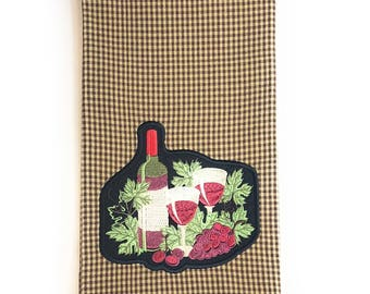 Hostess Thank You Gift, Hostess Gift Ideas for Christmas, Wine Towel Embroidered, 2nd Anniversary Cotton Gifts for Wife