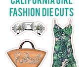 California Girl Fashion Die Cuts| fashion, palm leaf dress, aviators, tote