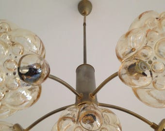 Chandelier 5 branches Mid century - blown glass clusters/flower - style Glashütte Limburg
