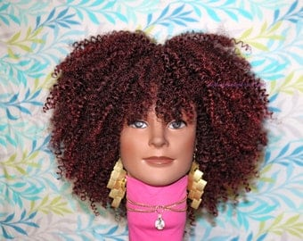 "READY TO SHIP //Synthetic crochet wig ""Burgundy Kinks"""