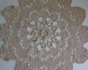 Beige Handmade Doily, Table Cover, Crochet Doily, Crocheted Doily, Floral Table Cover, Flower Doily, Flower Table Topper, Round Table Topper