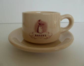 Vintage Baker's Chocolate Cup and Saucer by Jackson China