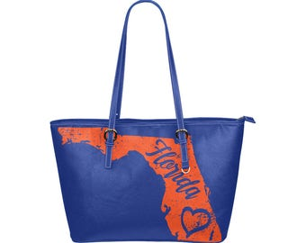 Florida Gators state love leather tote, university of Florida handbag, sports bag, college football, Gator girl, Gifts for college students