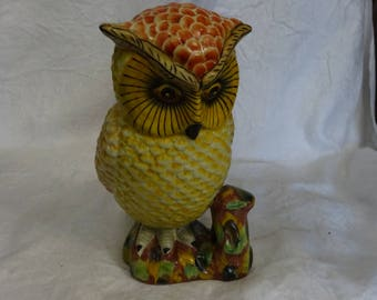 Vintage ceramic owl colorfully painted