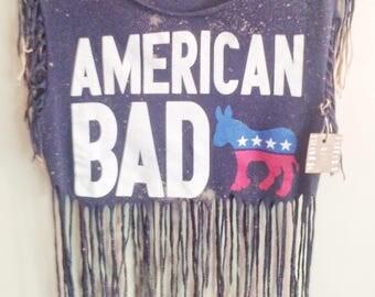 Womens Shirt USA // Country Concert Shirt // Upcycled Shirt // Womens Recycled Shirt // Fringe shirt