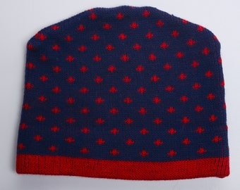 Vintage 60s-70s heavy, warm Winter Ski Hat / Knit Cap - All Wool